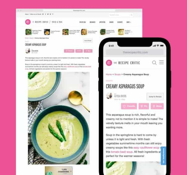 Desktop and mobile mockup of The Recipe Critic